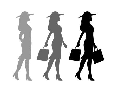 Einkaufsprozess. Frau, die zwei Handtaschen hält Menschen, die Silhouette gehen. Seitenansicht. Vektor schwarze flache Ikone isoliert auf weißem Hintergrund. Vektorgrafik