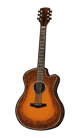 Acoustic guitar. Vintage vector color engraving illustration for poster, web. Isolated on white background. Vetores