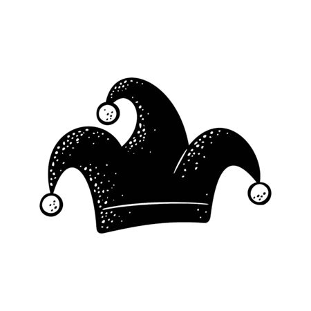 Jester cap. Vector black engraving illustration isolated on white