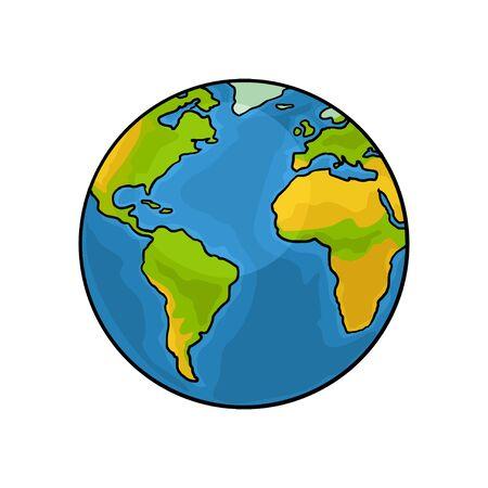 Planète Terre. Illustration de gravure vintage couleur vecteur