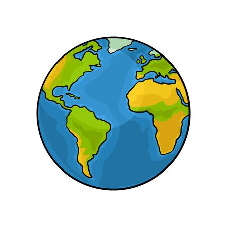 Planeta Tierra. Ilustración de grabado vintage de color vectorial