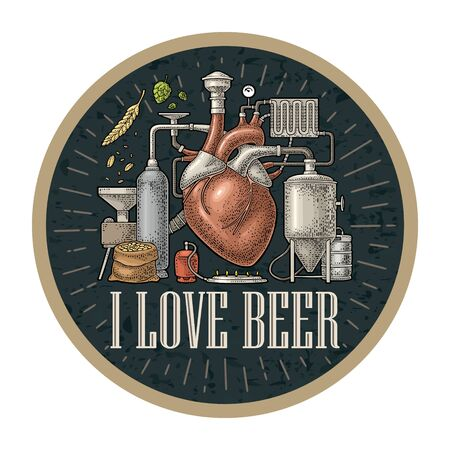 Brewery process on factory with tanks, ear, hops, burner. Heart in the center of the production. Isolated on dark background. Vintage vector color engraving illustration for coaster craft beer