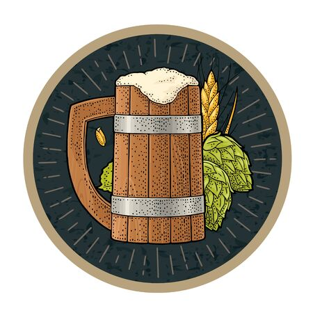 Wood mug beer with ears of corn and hop branch. Vector engraving color vintage illustration isolated on dark circle. Advertising design for coaster Çizim
