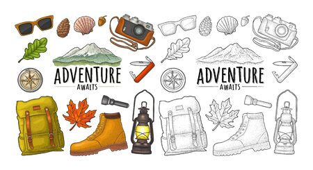 Travel set for outdoor recreation. Boot, gas lamp, mountain, photo camera, flashlight, sunglass, shell, jackknife, compass. Vector engraving vintage color illustration. Isolated on white background