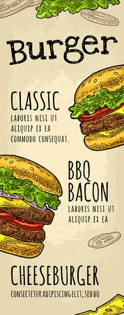 Restaurant or cafe menu with text. Burger calligraphy lettering. Vintage color vector engraving illustration on old beige craft paper