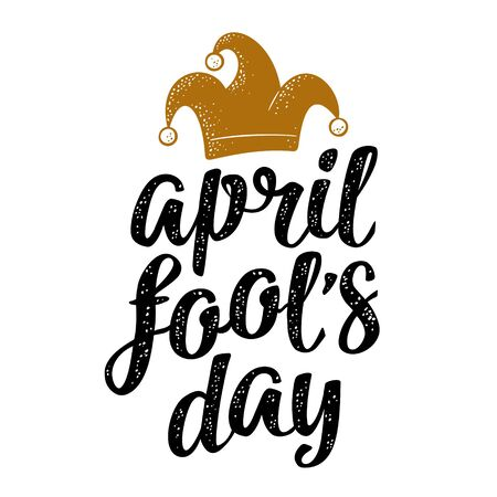 April fool's day calligraphic handwriting lettering with jester cap engraving. Vector color illustration isolated on white background. For web, poster
