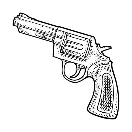 Revolver with short barrel and bullets. Vector engraving vintage illustrations. Isolated on white background. For tattoo, web, shooting club and label. Hand drawn design element