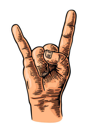 Rock and Roll hand sign. Vector color vintage engraving illustration. Hand giving the devil horns gesture