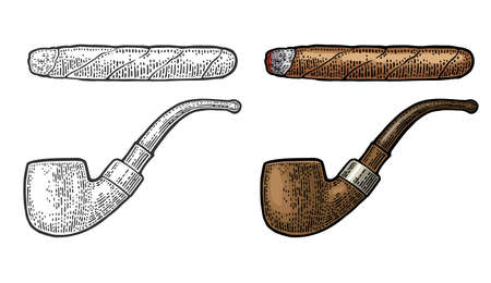Pipe and cigar. Vector engraving vintage color illustration isolated on white background. Illusztráció