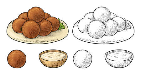 Falafel balls with sauce - dish middle eastern traditional food. Vector black vintage engraving illustration isolated on a white background.