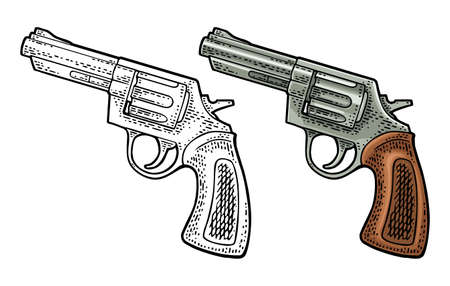 Revolver with short barrel. Vector color engraving vintage illustrations. Isolated on white background. For tattoo, web, shooting club and label. Hand drawn design element