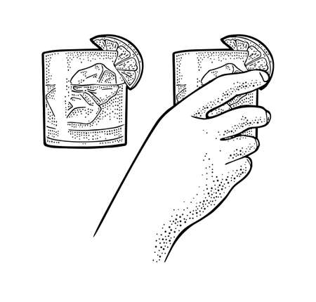 Female hand holding glass cocktail gin with lime and ice cube. Vintage vector engraving illustration for label, poster, invitation to party. Isolated on white background  イラスト・ベクター素材