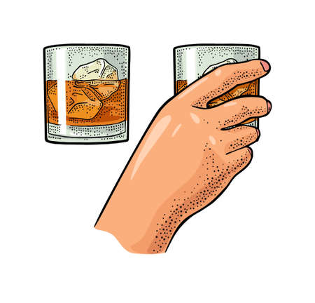 Female hand holding glass whiskey with ice cube. Vintage color vector engraving illustration for label, poster, invitation to party. Isolated on white background