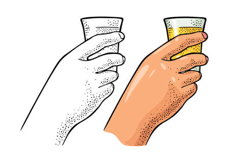 Female hand holding glass tequila. Vintage color vector engraving illustration for label, poster, invitation to party. Isolated on white background