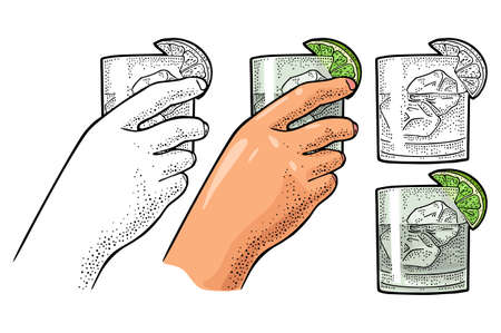 Female hand holding glass cocktail gin with lime and ice cube. Vintage color vector engraving illustration for label, poster, invitation to party. Isolated on white background