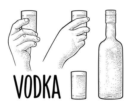 Calligraphic handwriting lettering vodka. Hands holding glass vodka. Vintage vector engraving illustration for label, poster, invitation to party. Isolated on white background