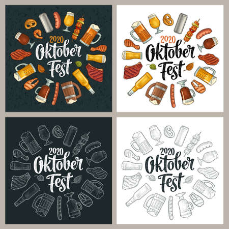OktoberFest 2020 calligraphic handwriting lettering. Glass beer and grill food. Vector color vintage engraving illustration isolated on white and black background. Circle design for coaster and poster