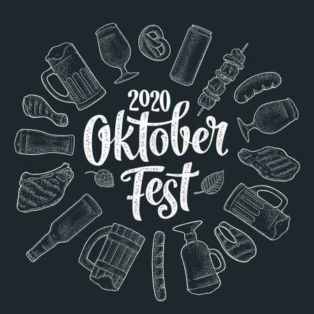 OktoberFest 2020 calligraphic handwriting lettering. Glass beer and grill food. Vector white vintage engraving illustration isolated on dark background. Advertising circle design for poster, coaster