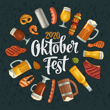 OktoberFest 2020 calligraphic handwriting lettering. Glass beer and grill food. Vector color vintage engraving illustration isolated on dark background. Advertising circle design for poster, coaster