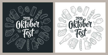OktoberFest 2020 calligraphic handwriting lettering. Glass beer and grill food. Vector vintage engraving illustration isolated on dark and white background. Advertising circle design for poster, coaster