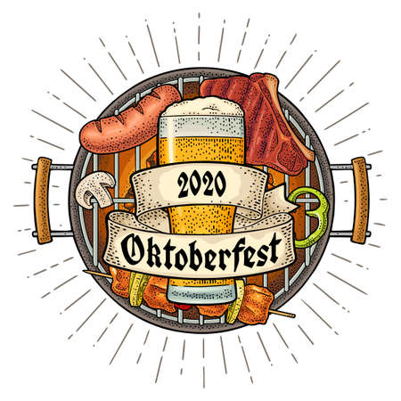 OktoberFest gothic lettering. Glass beer and barbecue grill top view with charcoal, kebab, sausage, chicken leg, beef steak. Vector engraving color vintage illustration isolated on circle with ray Stock Illustratie