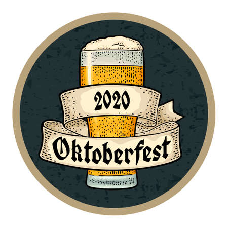 Glass beer with ribbon. Vector engraving color vintage illustration isolated on dark circle. OktoberFest 2020 gothic lettering. Advertising design for coaster