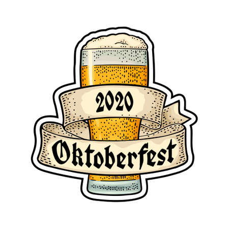 Glass beer with ribbon. Vector engraving color vintage illustration isolated on white background. OktoberFest 2020 gothic lettering. Stock Illustratie