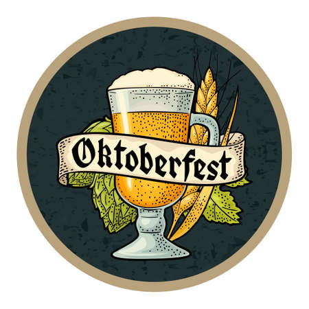Glass beer with ribbon, ears of corn and hop branch. Vector engraving color vintage illustration isolated on dark circle. OktoberFest gothic lettering. Advertising design for coaster