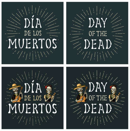 Day of the Dead vintage handwriting lettering from bones. Skeletons with maracas and guitar dressed in Mexican national costumes. Vector color vintage engraving. For poster Dia de los Muertos