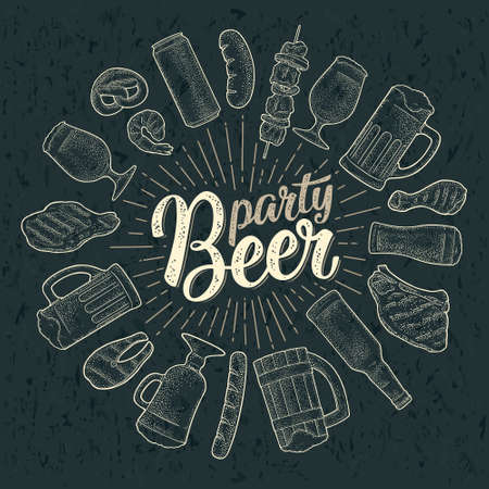 Beer party calligraphic handwriting lettering. Glass beer and grill food. Vector color vintage engraving illustration isolated on dark background. Advertising circle design for poster, coaster
