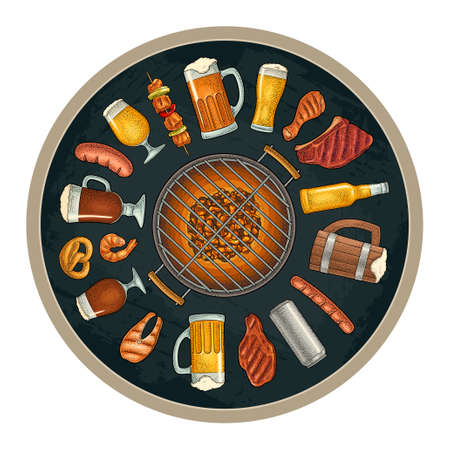 Glass beer and grill bbq food. Vector color vintage engraving Ilustracja