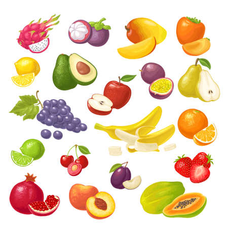 Set tropical fruits. Vector color flat illustration isolated on white Vektorové ilustrace
