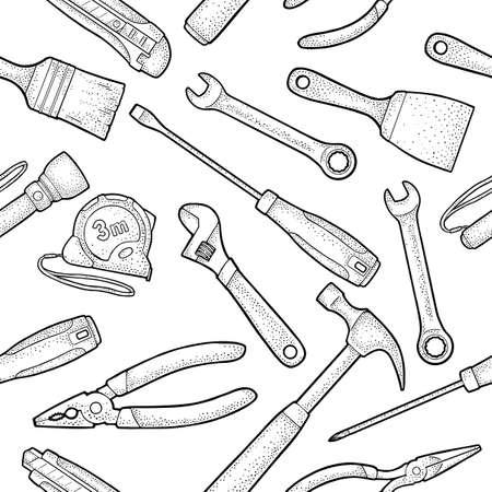 Seamless pattern set hardware tools. Hammer, screwdrivers, tape measure, wrench, pliers, utility knife, flashlight, brush. Vector black vintage engraving illustration. Isolated on white. Side view. Vektoros illusztráció