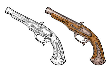Flintlock antique pistol. Vector color vintage engraving illustrations. Isolated on white background. For tattoo and poster