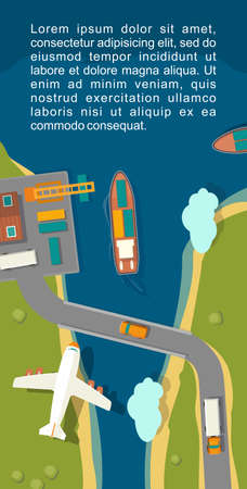 Illustration of a cargo port in flat vector style. Top view. For vertical banner industry shipping transport. 矢量图像