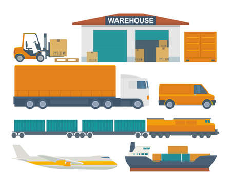 Forklift carries a box in storage. Flat banner production process in Warehouse. Vector illustration for business, info graphic, web, presentations, advertising.