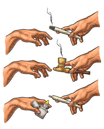 Males hands holding metal handle lighter open with flame and cigarette with marijuana. Section fresco The Creation of Adam. Vector color vintage engraving illustration isolated on a white background