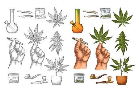 Set Marijuana. Cigarettes, pipe, lighter, buds, hand hold leaf, bottle, cigarette, glass jar, plastic bag, pipe for smoking cannabis. Vintage black vector engraving illustration. Isolated on white