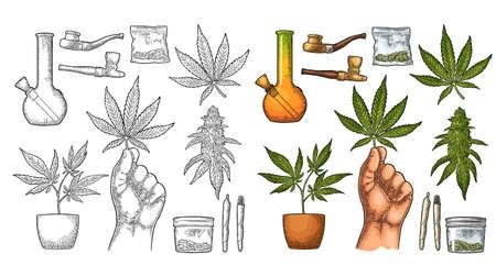 Set Marijuana. Cigarettes, pipe, lighter, buds, hand hold leaf, bottle, cigarette, glass jar, plastic bag, pipe for smoking cannabis. Vintage black vector engraving illustration. Isolated on white Vetores