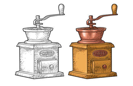 Coffee mill. Vintage color vector engraving illustration for label, web. Isolated on white background. Hand drawn sketch style.