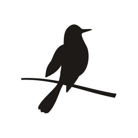 Bird perched on a branch. Vector black flat icon isolated on white