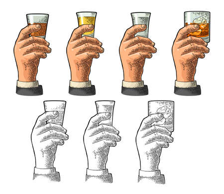 Male hand holding a glass with tequila, vodka, rum, whiskey. Vintage color vector engraving illustration for label, poster, invitation to party and birthday. Isolated on white background