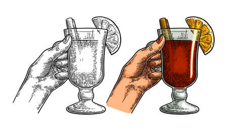 Female hand holding a glass of mulled wine with cinnamon stick and orange slice. Vintage color vector engraving illustration isolated on white. Hand drawn design element for invitation to a party 向量圖像