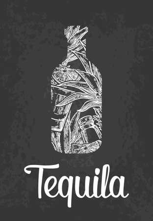 Bottle of tequila with glass, cactus, salt and lime. Color hand drawn sketch on vintage black background. Vector engraved illustration