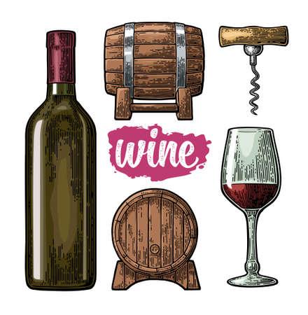Wine set. Bottle, glass, corkscrew, barrel. Color vintage engraved vector illustration isolated on white background. For label poster, web.