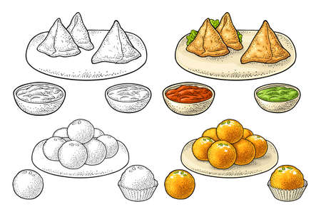 Indian traditional food. Samosa with sauces in bowl. Sweets ladoo in plate and single. Vector color and black vintage engraving illustration. Isolated on white background