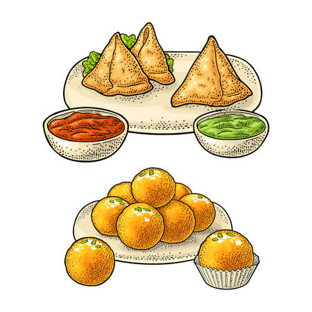 Indian traditional food. Samosa with sauces in bowl. Sweets ladoo in plate and single. Vector color vintage engraving illustration. Isolated on white background