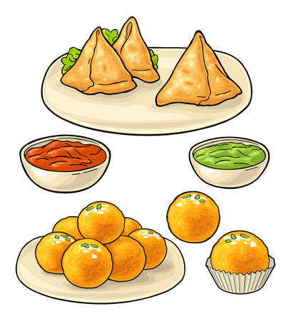 Indian traditional food. Samosa on board with sauces in bowl. Sweets ladoo in plate and single. Vector color flat illustration. Isolated on white background
