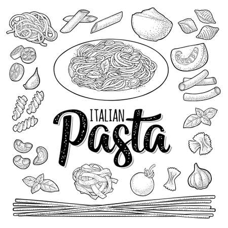 Different types macaroni and spaghetti on plate. Vector vintage color engraving isolated on white. ITALIAN PASTA handwriting lettering.