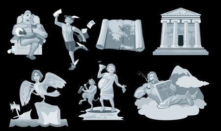 Set Ancient greek god in the present world. Dionysus, Zeus, cyclops, siren, satyr, Hermes. Isolated on dark background. Vector flat gray illustration.